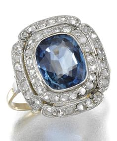SAPPHIRE AND DIAMOND RING, EARLY 20TH CENTURY.