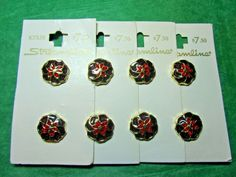 """(8) 5/8"""" STREAMLINE GOLD SURROUND RED FLORAL PLASTIC SHANK BUTTONS 4-CARDS(N950)"""