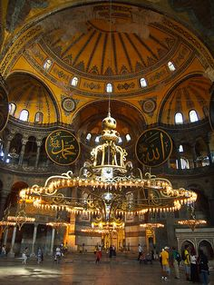 "Photos from inside Hagia Sophia in Istanbul. This building has seen so much of this city's history, and perfectly illustrates ""East meets West"" in Turkey. Byzantine Architecture, Mosque Architecture, Religious Architecture, Beautiful Architecture, Art And Architecture, Turkey Culture, Hagia Sophia Istanbul, Beautiful Mosques, Byzantine Art"
