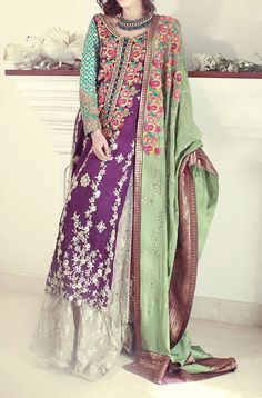 Buy Purple/Silver Embroidered Crinkle Chiffon Party Special Dress by PakRobe.com Contact: (702) 751-3523 Email: info@pakrobe.com Skype: PakRobe