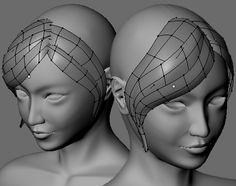 前髪用短冊形状ポリゴンのモデリングが完了