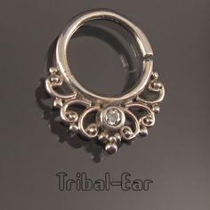 Septum Nose Ring Plain Silver and Zircon Piercing Bijou Fantaisie Tribal Ear 050
