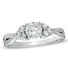 1 CT. T.W. Certified Canadian Princess-Cut Diamond Twist Engagement Ring in 14K White Gold (H-I/I1) - Zales
