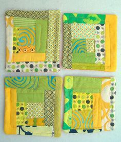 green and yellow coasters (spring-like)