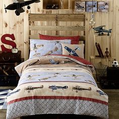 airplane bedroom decorating ideas - boys aviation bedrooms - kids rooms airplane theme beds - aviation theme kids room airplanes theme bedroom decor - army transportation theme rooms - childrens rooms with airplane themes - airplane room decor Bedroom Themes, Bedroom Sets, Kids Bedroom, Bedroom Decor, Kids Rooms, Bedding Sets, Boy Rooms, Master Bedroom, Boys Airplane Bedroom
