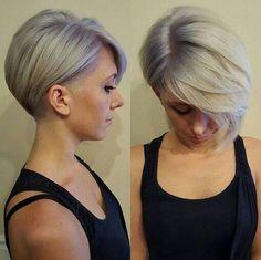 Long bangs. Short pixie cut. Grey hair. Lavender and lilac.