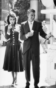 Cary Grant with the love of his life, Sophia Loren. But, she ended up with Carlo Ponti.