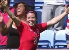 Diana Matheson just after scoring the goal that gave Canada a 1-0 victory over France, in the Women's Soccer Bronze Medal match. Canada's First medal in a Summer Olympics since a Silver in Men's Basketball in 1936. August 9, 2012  Courtesy of ctv.ca
