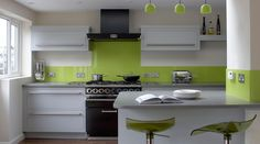 Linear Kitchen With Lime Green Splashback