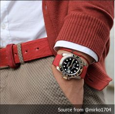 Nice Match Red x Black. Rolex GMT x Red Perlon Strap. Discover our Perlon Strap 20mm at decowrist.com #rolex #gmt #rolexgmt