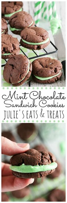 Mint Chocolate Sandwich Cookies ~ Quick & Easy, Soft, Chewy Chocolate Cookies Stuffed with Creamy Mint Filling - I added Andes pieces to the frosting! Chewy Chocolate Cookies, Mint Chocolate Chips, Chocolate Recipes, Easy Desserts, Delicious Desserts, Yummy Food, Cookie Recipes, Dessert Recipes, Cookie Ideas