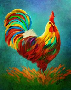 "Daily Paintworks - ""King of the Coop"" - Original Fine Art for Sale - © Sunny Williams Rooster Painting, Rooster Art, Ceramic Rooster, Chicken Painting, Chicken Art, Chickens And Roosters, Pictures To Paint, Art Plastique, Animal Paintings"