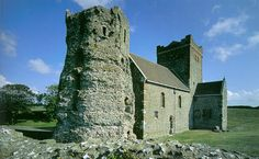 Roman Lighthouse beside a Saxon Church, Dover Castle, Dover, Kent, England