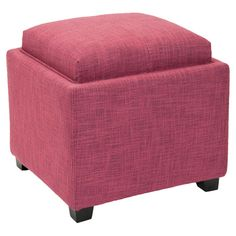 Storage Ottoman - such a good idea.  We can use it as a footrest in front of the couch!