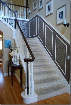 3 Certain Tips: Faux Wainscoting Dining Room wainscoting kitchen home improvements. House, Picture Frame Wainscoting, Banisters, Wainscoting Bedroom, Wainscoting Height, Oak Banister, Dining Room Wainscoting, Stairs, Wainscoting Styles