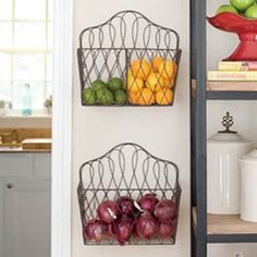 French wire convertible baskets for fruits and veggies....- def. doing this in our italian kitchen, we have little room in our kitchen