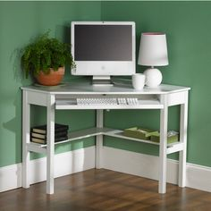 White Corner Computer Desk www.obaz.com / great to you in small spaces/ bedrooms(can be used instead of nightstand).