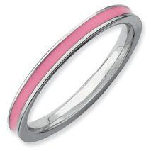 Mesmerizing Silver Stackable Pink Enamel Band. Sizes 5-10 Available Jewelry Pot. $14.99. Fabulous Promotions and Discounts!. 100% Satisfaction Guarantee. Questions? Call 866-923-4446. 30 Day Money Back Guarantee. Your item will be shipped the same or next weekday!. All Genuine Diamonds, Gemstones, Materials, and Precious Metals