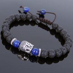 Lava Rock Lapis Tibetan Silver Adjustable Braided Bracelet Buddha Bead T226 #Handmade #AdjustableBraidedBracelet