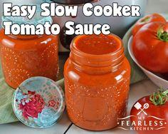 Easy Slow Cooker Tomato Sauce from My Fearless Kitchen. Make the most of your garden-fresh tomatoes with this Easy Slow Cooker Tomato Sauce. Make a few big batches now and freeze it to use all winter long. Fresh Tomato Sauce Recipe, Fresh Tomato Recipes, Homemade Tomato Sauce, Vegetable Recipes, Tomatoe Sauce, Tomato Sauce Crockpot, Homemade Spices, Homemade Seasonings, Canning Vegetables