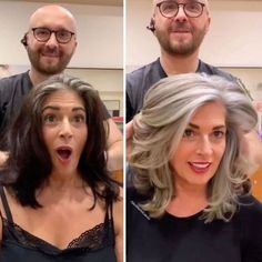 Hairdresser Helps Women Embrace And Rock Their Gray Hair - CheezCake - Parenting | Relationships | Food | Lifestyle Long Gray Hair, Brown Blonde Hair, Hair Color For Black Hair, Grey Hair Over 50, Silver Blonde, Curly Gray Hair, Black And Silver Hair, Silver Hair Dye, Long Silver Hair