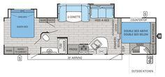 2015 White Hawk 33BHBS Floorplan. I really like the bunks in this one. Good bathroom storage.