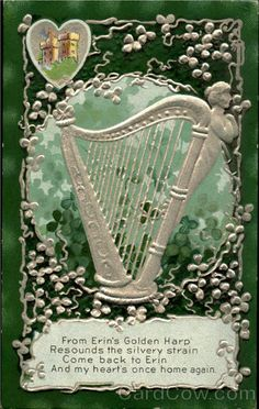 Divided Back Postcard Irish Harp St. Celtic Pride, Irish Celtic, Saint Patrick, Vintage Cards, Vintage Postcards, Books Art, St Patricks Day Quotes, Irish People, Erin Go Bragh