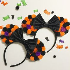 Halloween Pom Mouse Ears by ShopHouseOfMouse on Etsy