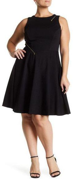 Plus Size Zipper Fit & Flare Dress