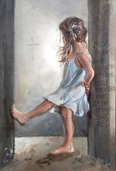 Too Adorable! Little girl in hall with her toes up. Cross in background. Prophetic art of Maria M Oosthuizen