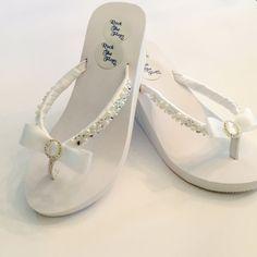 45a8b2a466f5cd Items similar to Bridal Flip Flops wedges.Wedding Flip Flops. White Wedding  Shoes.Rhinestone Shoes. Bridal Shoes Sandals. Beach Sandals on Etsy