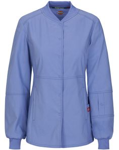 Ceil Blue Women's EDS Signature Snap Front Warm-up Scrub Jacket with Certainty Dickies Clothing, Dental Uniforms, Scrubs Uniform, Scrub Jackets, Womens Scrubs, Medical Scrubs, Modest Fashion, Work Wear, Clothes For Women