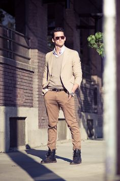It's not boots, it's the way this guy wears them that makes this outfit different.  #men #style #layering
