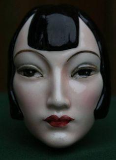 Austrian Anna May Wong decorative wall mask, Ceramic Lady Heads, Vintage Mannequin, Mannequin Heads, Art Nouveau, Art Deco Vanity, Ceramic Mask, Beautiful Fantasy Art, Art Deco Design, Dieselpunk