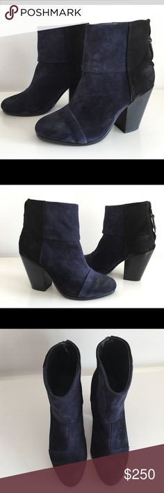 """RAG & BONE NEWBURY BLACK & NAVY BLUE SUEDE BOOTS RAG & BONE NEWBURY BLACK & NAVY BLUE SUEDE LEATHER ANKLE BOOTS, WITH ZIP CLOSURE AT BACK HEEL, SIZE 37, STACKED HEEL 3.5"""", SHAFT 4"""", LEATHER UPPER LINING AND SOLE, BRAND NEW WITH BOX AND DUST BAG rag & bone Shoes Ankle Boots & Booties"""
