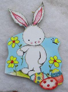 Easter Bunny Eggs Flowers Vtg Greeting Card Glittered Wood Christmas Ornament