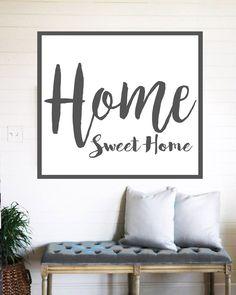 Home Sweet Home Farmhouse Sign - Rustic Wall Decor - Wall Art