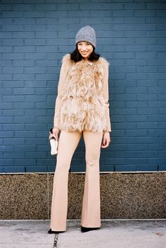 Lily Kwong, before A Show, NYC, February 2014. Recreate Lilys look (kind of): Fur/faux fur...