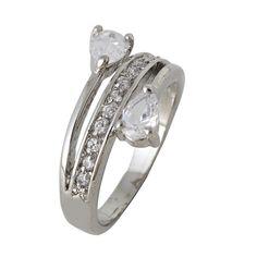 Fashion Silver Heart Prong Setting Quality Diamonds Pt Plating Rings