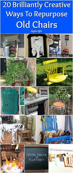 20 Brilliantly Creative Ways To Repurpose Old Chairs - It's so hard sometimes to part with things, particularly furniture. Even if you've purchased a new dining room set or just new chairs for your set, you may find it difficult to throw out those old chairs. I'm such a packrat that I just can't bring myself to get rid of things sometimes, even when they are broken or otherwise seem useless. via @vanessacrafting