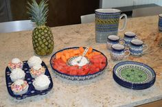 Love serving with polish pottery.. Used a muffin pan, dessert plates, ladies bubble mugs, unikat pitcher and a chip and dip platter..