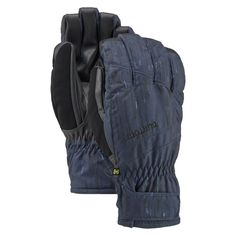Burton Profile Under Gloves, Rain Stencil, Large. DRYRIDE Ultra shell 2-layer fabric with screen grab tough grip palm for total touchscreen control. Thermacore insulation. Brushed microfiber fixed lining. Ergonomic pre-curved fit. Removable wrist leash.
