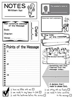 Sermon notes for kids! One of the best ways to help kids retain the information heard during a sermon, message or devotional is to have them take notes. It also gives them something to due and helps them avoid distractions and the temptation to be disrupt Bible Study For Kids, Bible Lessons For Kids, Kids Bible, Church Activities, Bible Activities, Sermon Notes, Bible Teachings, Sunday School Lessons, Kids Church