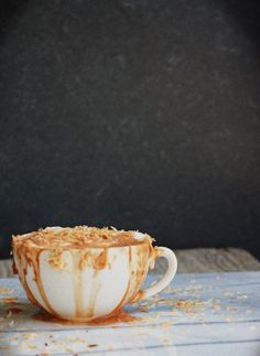 Coconut hot chocolate latte with whipped coconut cream.