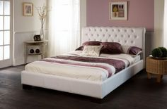 The Aries bed frame in white faux leather is an appealing and sophisticated bed frame that successfully mixes modern and vintage styles.