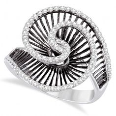 Allurez Cocktail Swirl Diamond Ring with Black Rhodium 14kt White Gold... (£1,070) ❤ liked on Polyvore featuring jewelry, rings, white gold rings, diamond jewellery, diamond swirl ring, swirl ring and round cut diamond rings