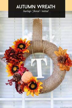 Fall Burlap Initial Wreath via @sheenatatum