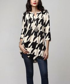 Look what I found on #zulily! Black & Cream Houndstooth Notch Neck Pin Tuck Tunic #zulilyfinds