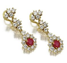 18 karat gold, ruby and diamond earrings- Sothebys