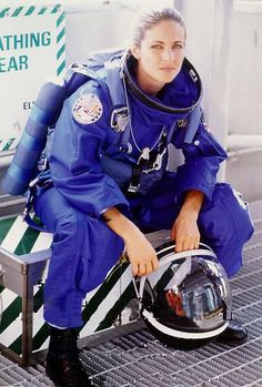 """Jennifer Watts (Jessica Steen) suited up for launch in a publicity photo for 1998's """"Armageddon"""""""
